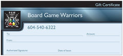 Board Game Warriors Gift Certificate