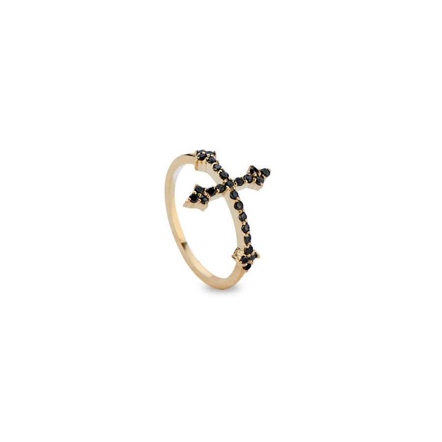 Cross Your Fingers Ring w/ Black Diamonds