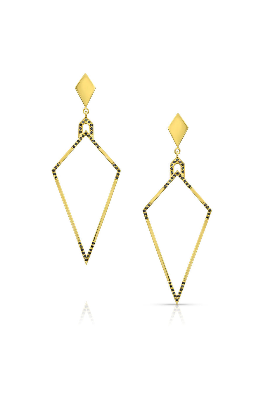 Amulet Earrings w/ Black Diamonds