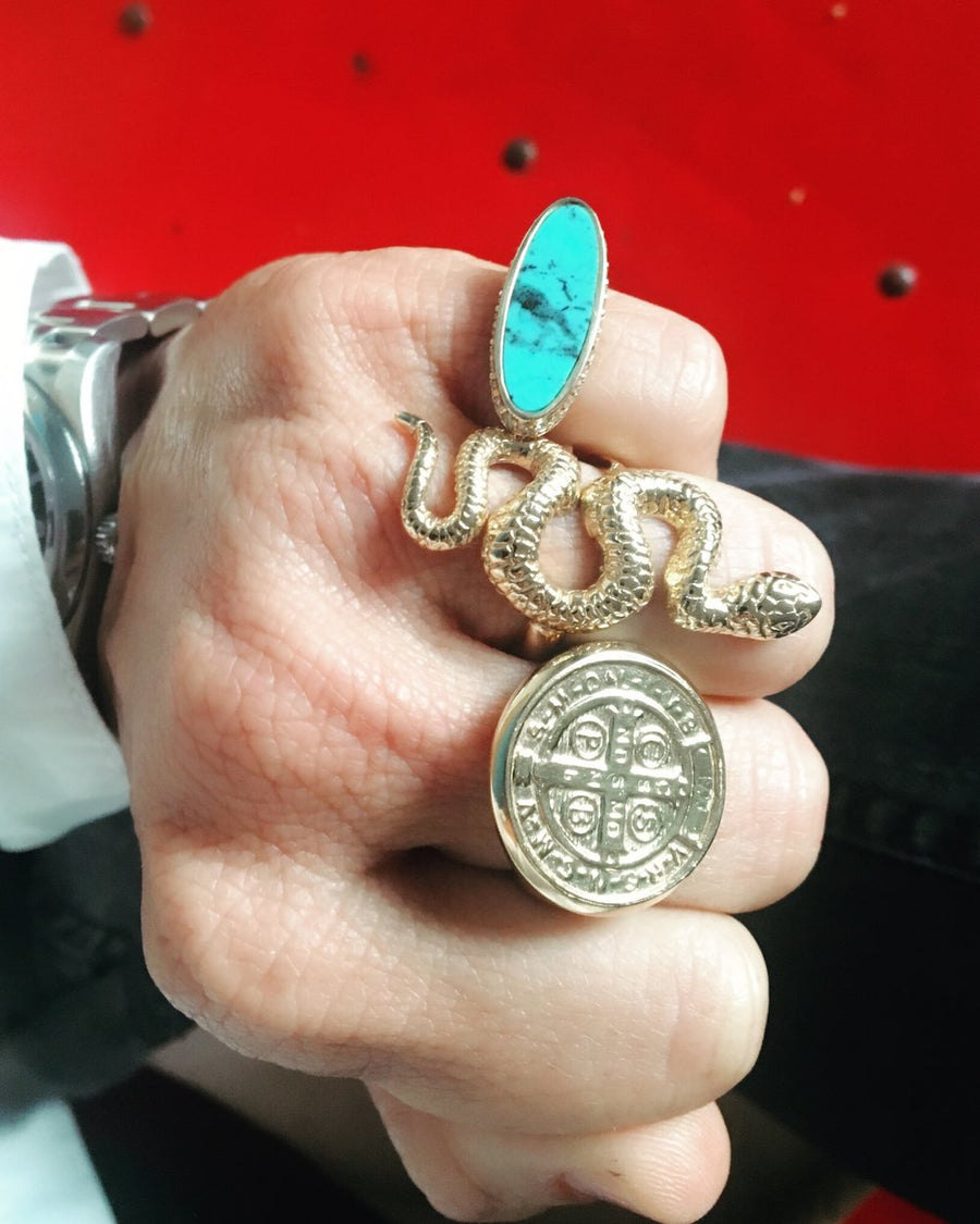 Halo Signet w/ Turquoise and Diamonds