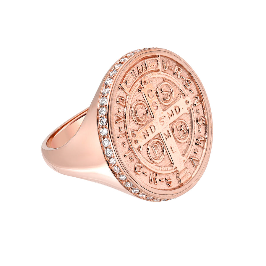 St. Benedict Signet w/ White Diamonds