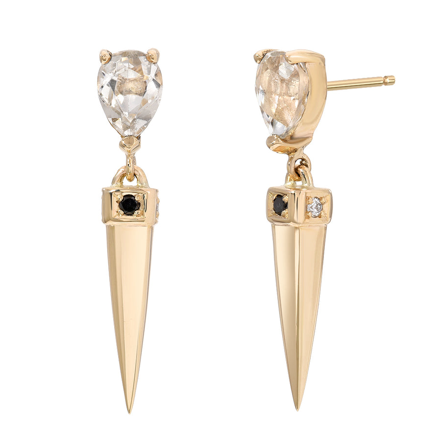 White Topaz Spike Drop Earrings