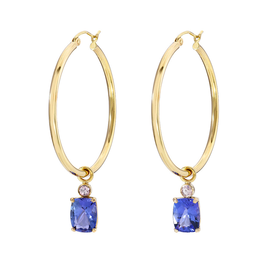Hoops w/ Tanzanite and Morganite Charms