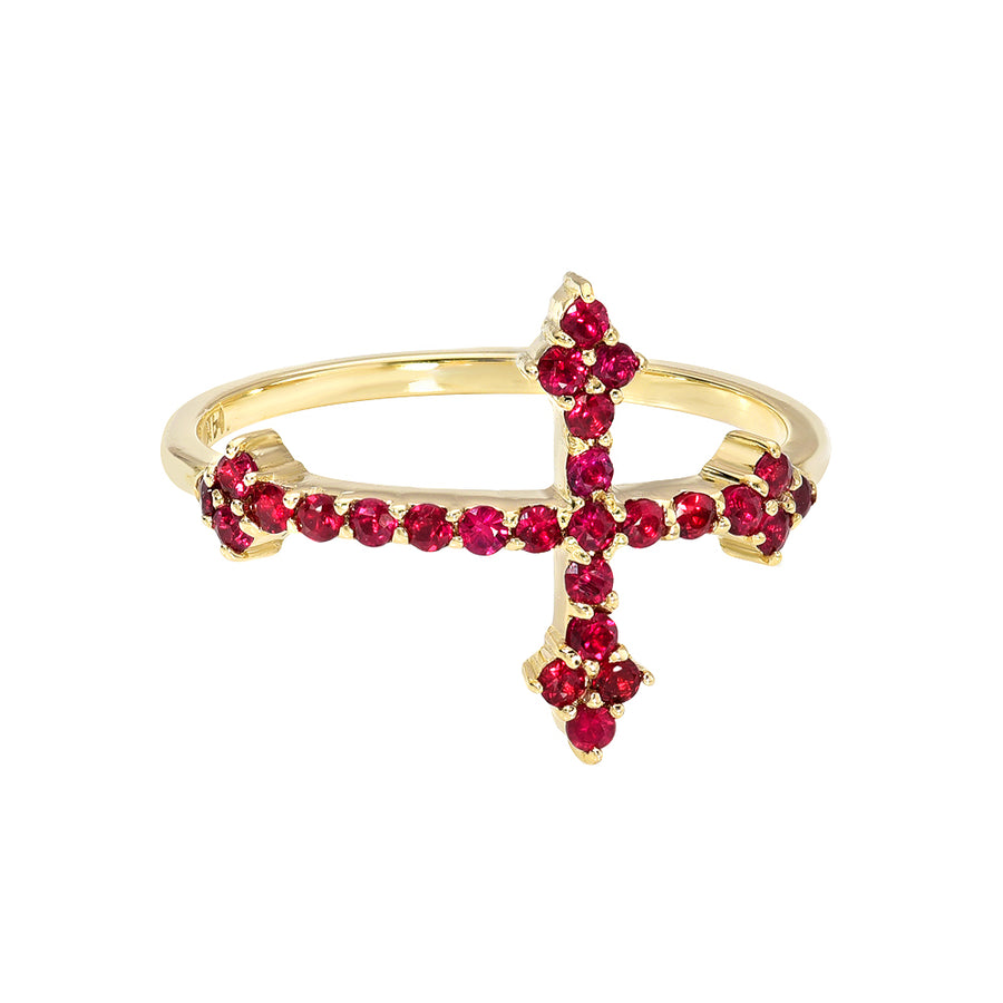 Cross Your Fingers Ring w/ Rubies