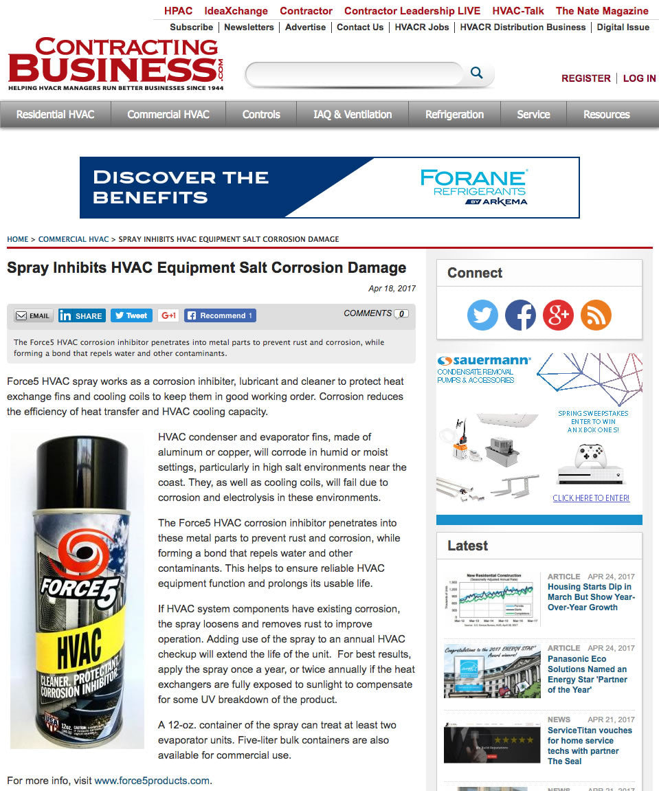 Spray Inhibits HVAC Equipment Salt Corrosion Damage.