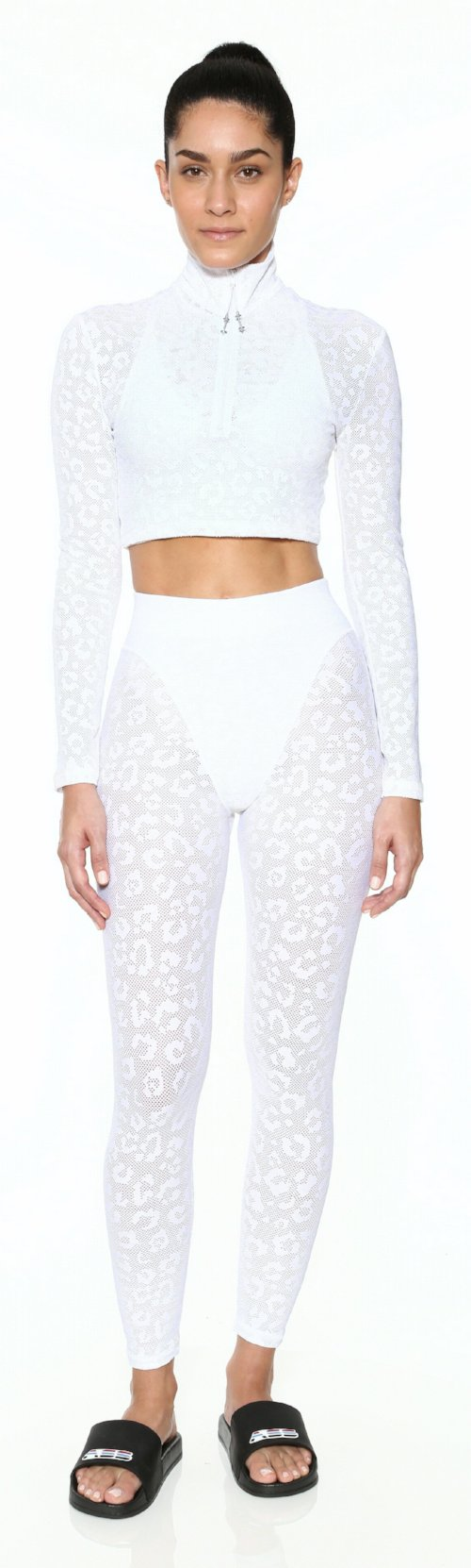 leopard bra top white long sleeve adam selman activewear workout work out clothes