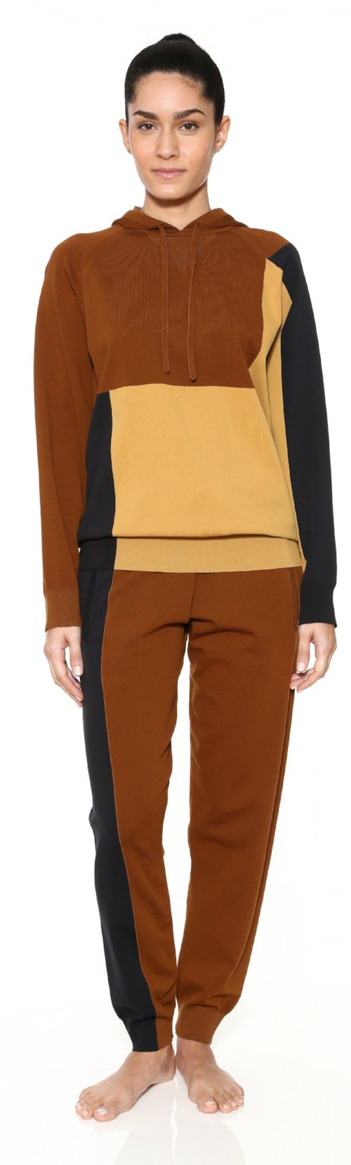 colorblock brown black pullover knit hoodie top adam selman workout work out clothes activewear