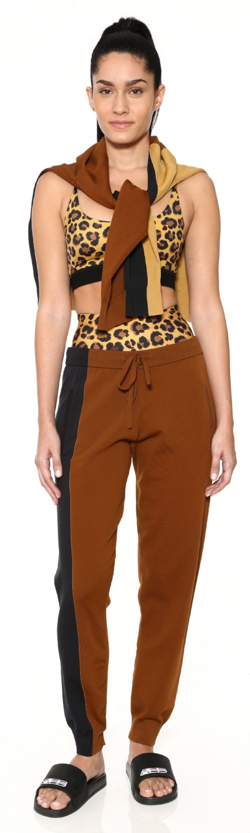 colorblock brown black sweatpant bottom knit adam selman workout work out clothes activewear