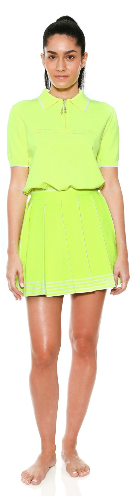 pleated bottom skirt neon adam selman workout knit clothes work out