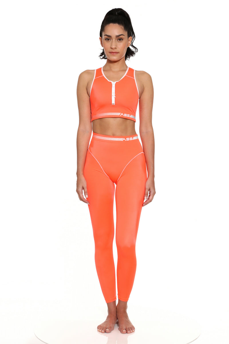 Zip- Front Crop Top- Hazard