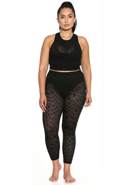 French Cut Perforated Legging - Black Star