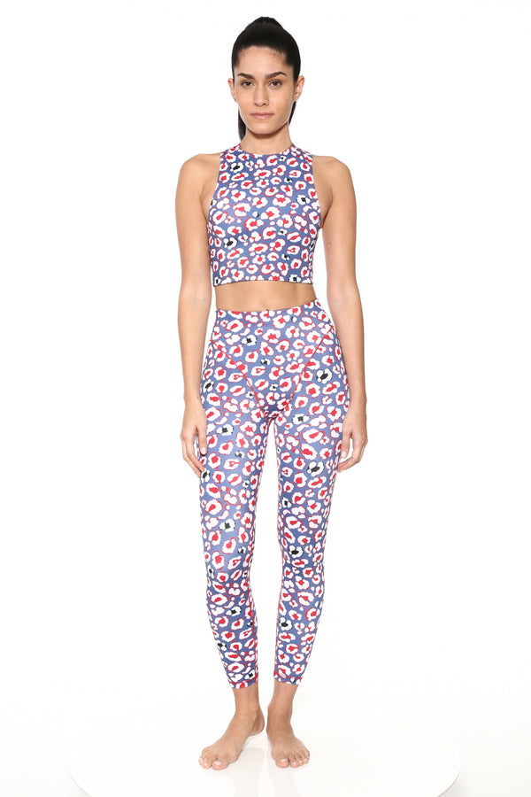 Blue Leopard Racer Crop Top