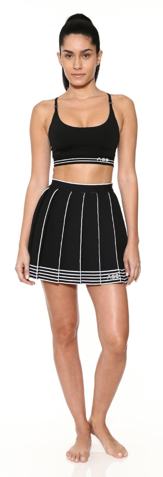 Logo Knit Pleated Skirt - Black