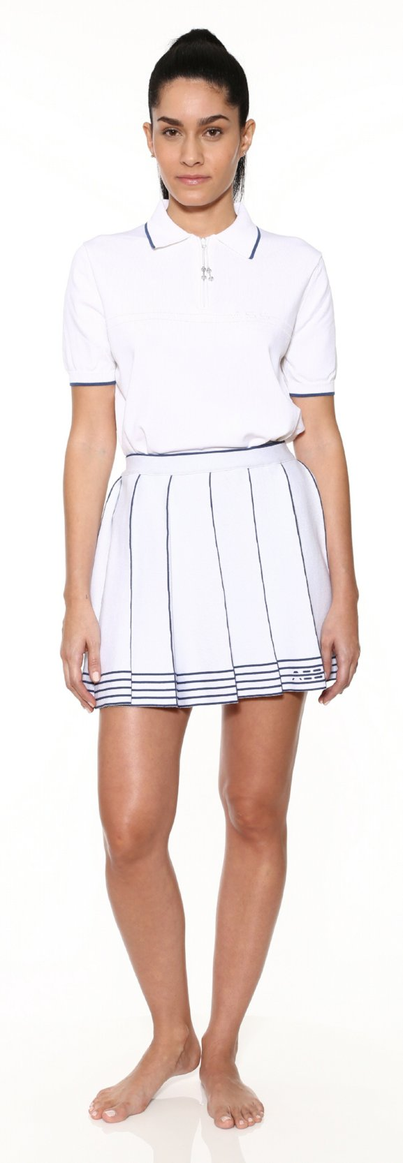 Logo Knit Pleated Skirt - White