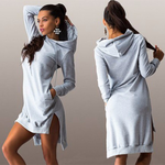 Fashion Irregular Hooded Plus Velvet Long-Sleeved Dress Sweater