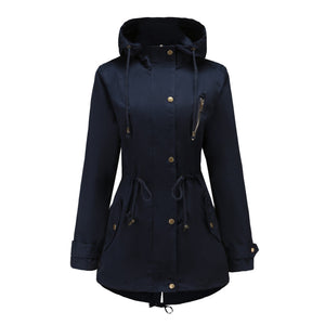 Mid-length Drawstring Hooded Trench Coat