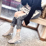 New Fashion Square Head Hollow Breathable Crystal Heel Martin Boots