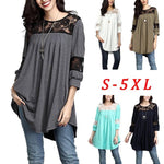 Women Fashion Plus Size Loose Casual Three Quarter Sleeve Lace Blouses