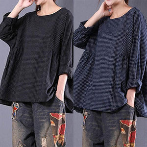 Round Neck Loose Cotton Linen Vingtage Plaid Shirt