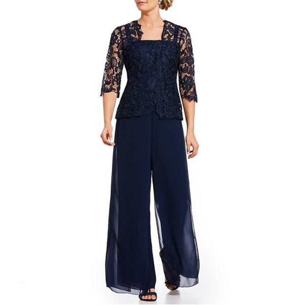 Plus Size 3-pieces Set Lace Cardigan Long Chiffon Pants