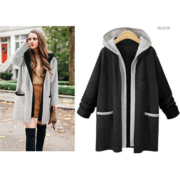 Fake Two-piece Hooded Long-sleeved Windbreaker Cardigan Coat