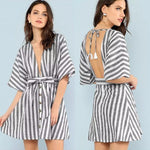 Deep V-Neck Open Back Striped Print Lace-Up Dress