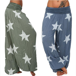 Star Printed Solid Color Loose Bloomers
