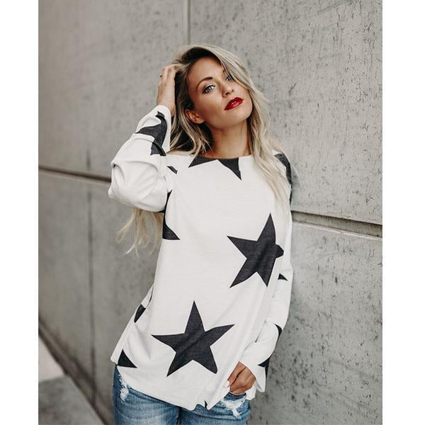 Star Pattern Cotton Top, T-shirt