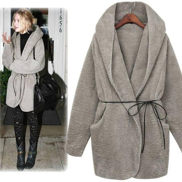 Autumn And Winter Fashion Cloak Hooded Plush Thick Lamb Wool Coat