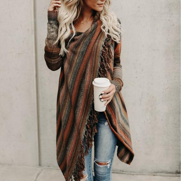 Asymmetrical Long Sleeve Fringed Knitted Cardigan