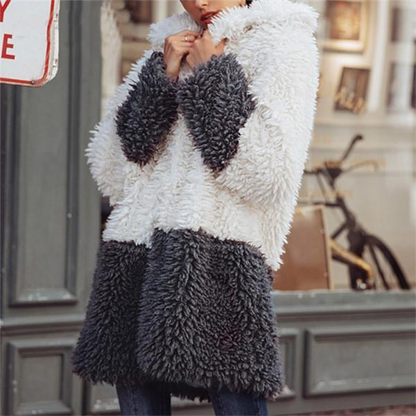 Gray Contrast Color Fur Coat