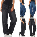 Casual Loose Belt Denim Wide Leg Pants