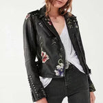 Embroidered Floral Faux Leather Jacket