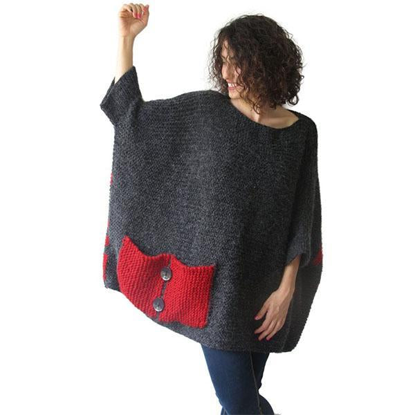 Over Size Sweater Dark Gray - Red Hand Knitted Sweater with Pocket Tunic