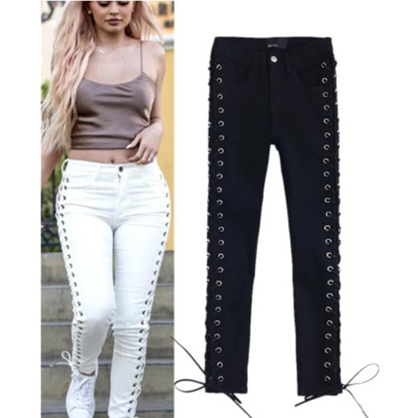 Solid Color Side Band Stitched Skinny Jeans