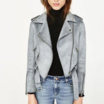 Suit Lapel Suede Moto Jacket