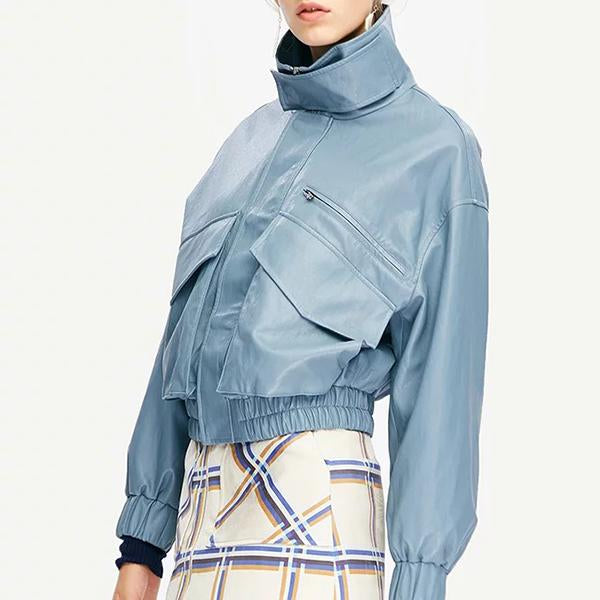 Water Blue Locomotive Zipper Leather Coat
