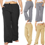 Casual Plus Size Lace-up Wide Leg Pants