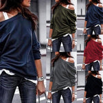 One Shoulder Casual Soft Long Sleeve T-Shirts