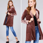 Vintage Velvet Long Sleeve Cardigan Coat