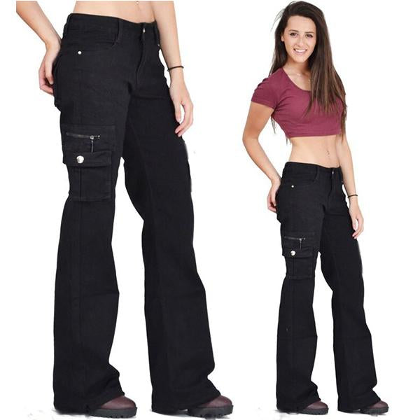Casual Baggy Multi-Pocket Wide-Leg Pants