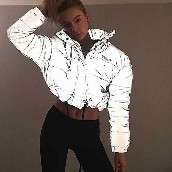 Oversized Cotton Cropped Night Reflection Jacket