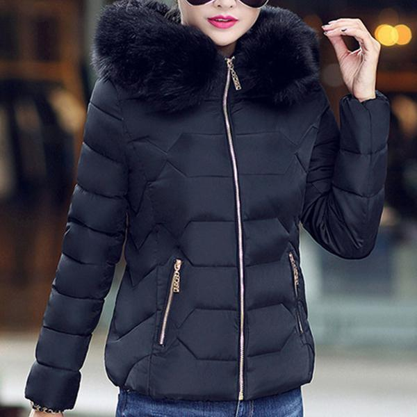 Slim Short Cropped Fur Down Jacket