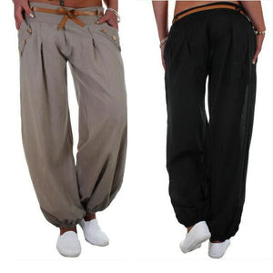 Belt High Waist Loose Sweatpants