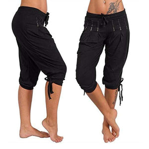 Lace Up Cotton Loose Bottom Calf-Length Harem Pants