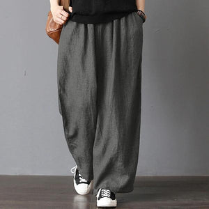 Oversized Vintage Casual Loose Pockets Elastic Waist Wide Leg Pants