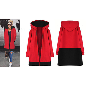 Women's Winter Stitching Hooded Zipper Loose Thick Coat