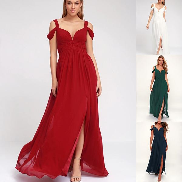 Pleated Deep V Dress Gown