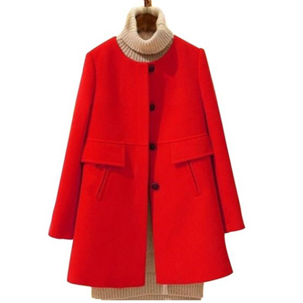 Winter O-Neck Long Wool Women's Slim Thick A-Shaped Coat