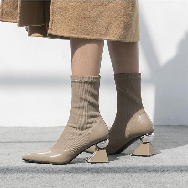 Pointed Leather Shaped Heel Elastic Boots